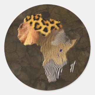 Wild Animal Textures Map of AFRICA Sticker