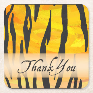 Wild Animal Tiger Thank You Square Paper Coaster
