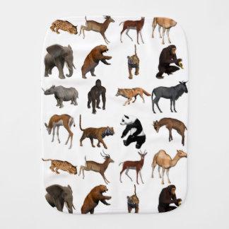 Wild animals burp cloth