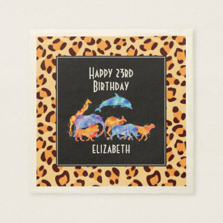 Wild Animals on a Leopard Print Pattern Birthday Disposable Serviettes