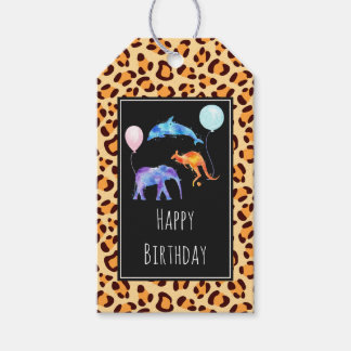 Wild Animals on Exotic Leopard Print Birthday Gift Tags