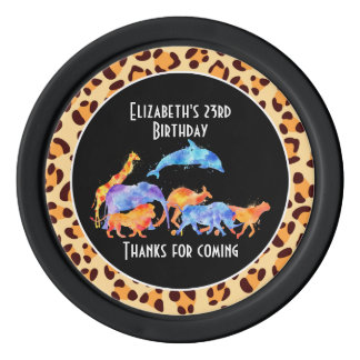 Wild Animals on Leopard Print Birthday Poker Chips