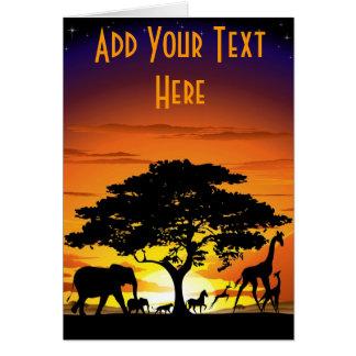 Wild Animals on Savannah Sunset Card