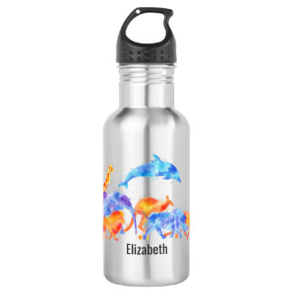Wild Animals Running Together Colorful Watercolor 532 Ml Water Bottle