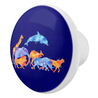 Wild Animals Running Together Colorful Watercolor Ceramic Knob