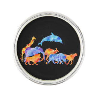 Wild Animals Running Together Colorful Watercolor Lapel Pin