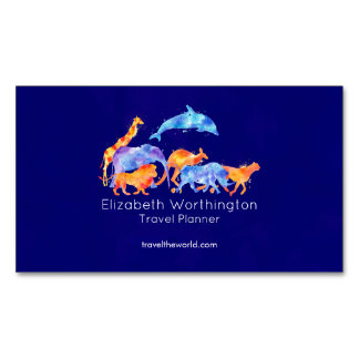 Wild Animals Running Together Colorful Watercolor Magnetic Business Card