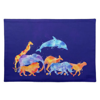 Wild Animals Running Together Colorful Watercolor Placemat