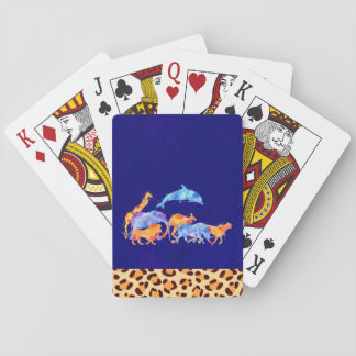 Wild Animals Running Together Colorful Watercolor Playing Cards