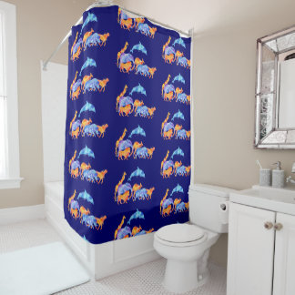 Wild Animals Running Together Colorful Watercolor Shower Curtain