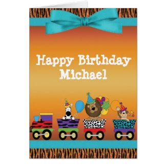Wild Animals Train Ride Tiger Stripes Birthday Card