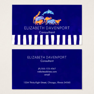 Wild Animals with a Bluish Purple Striped Border Business Card