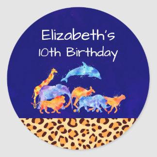 Wild Animals with a Leopard Print Border Birthday Classic Round Sticker