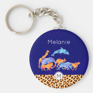 Wild Animals with a Leopard Print Border Monogram Key Ring