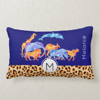 Wild Animals with a Leopard Print Border Monogram Lumbar Cushion