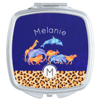 Wild Animals with a Leopard Print Border Monogram Travel Mirrors