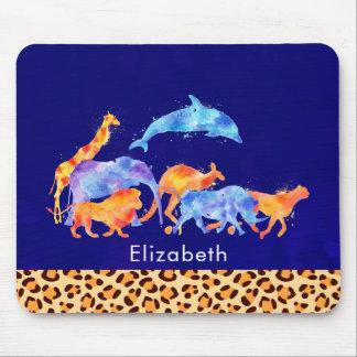 Wild Animals with a Leopard Print Border Mouse Pad