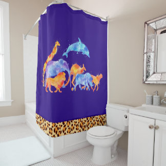 Wild Animals with a Leopard Print Border Shower Curtain