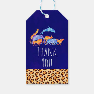 Wild Animals with a Leopard Print Border Thank You Gift Tags