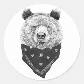 Wild bear round sticker