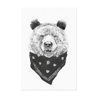 Wild bear stretched canvas print