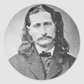 Wild Bill Hickok Lawmen Old West Vintage Photo Round Sticker