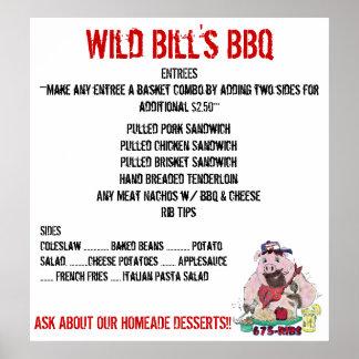 WILD BILL'S BBQ MENU POSTER