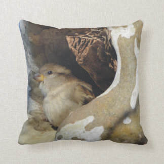 Wild Bird Taking Cover From The Cold Winds Cushion