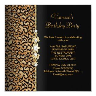 Wild Birthday Party Gold Black Animal 13 Cm X 13 Cm Square Invitation Card