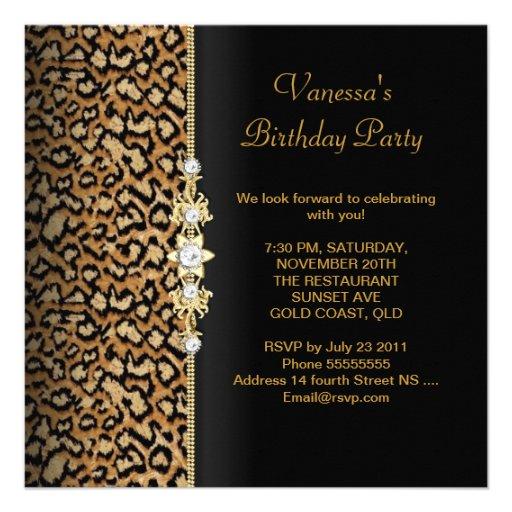 Wild Birthday Party Gold Black Animal Custom Announcements