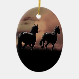 Wild black beauty horses ceramic oval decoration