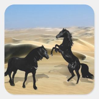Wild black beauty horses square sticker