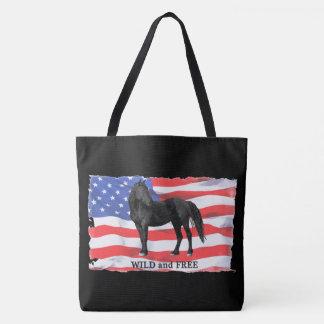 Wild Black Horse Logo Large Tote