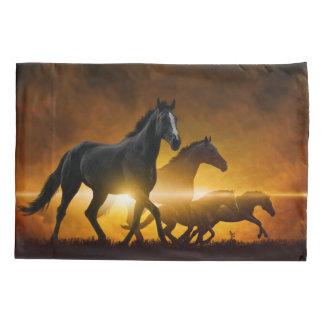 Wild Black Horses (2 sides) Pillowcase