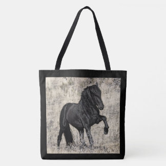 Wild Black Stallion Large Totoe Tote Bag