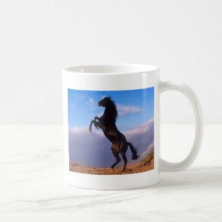 Wild Black Stallion Rearing Horse Mug