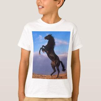 Wild Black Stallion Rearing Horse T-Shirt