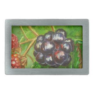 Wild Blackberries ripening in Summer Rectangular Belt Buckle