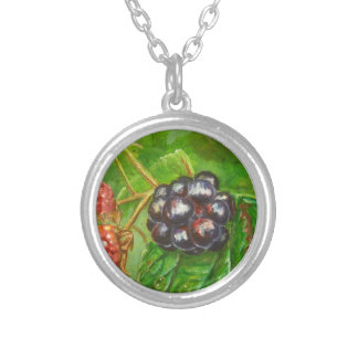 Wild Blackberries ripening in Summer Silver Plated Necklace