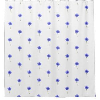 wild blue cornflower pattern shower curtain