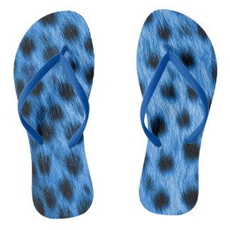 Wild Blue Spotted Cheetah Fur Look Thongs