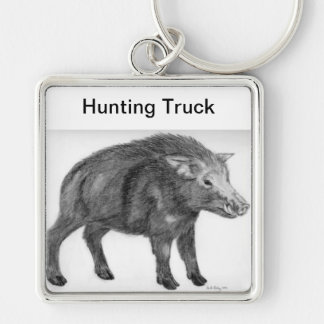 Wild Boar, Defensive Stance Silver-Colored Square Key Ring
