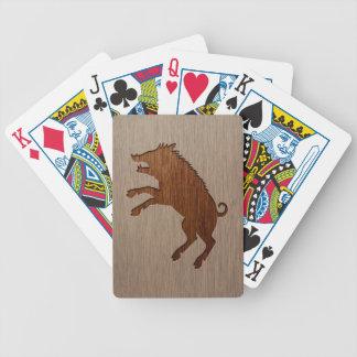 Wild boar engraved on wood design poker deck