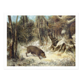 Wild Boar in the Snow, signed as Courbet (fake) Postcard