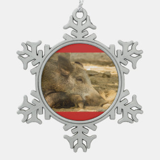 wild boar on Pewter Snowflake Ornament