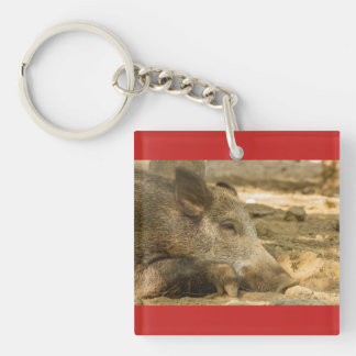 wild boar on Square (double-sided) Keychain
