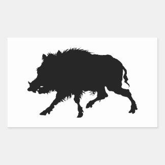Wild Boar or Wild Pig Elegant Silhouette Rectangular Sticker