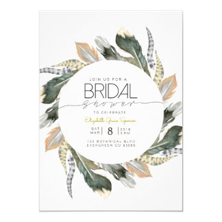 Wild Bridal Shower   Feather Watercolor Circle Card