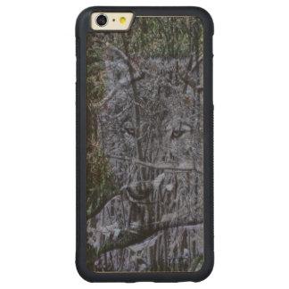 Wild camouflage woodland wildlife Grey wolf Carved Maple iPhone 6 Plus Bumper Case