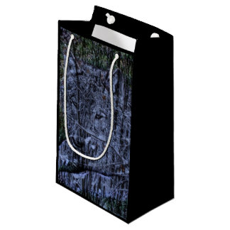 Wild camouflage woodland wildlife Grey wolf Small Gift Bag